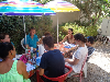 Students from different countries, enjoying a coffee-break in the garden